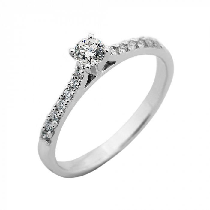 Золотое помолвочное кольцо Матильда в белом цвете с бриллиантами VLA--14569