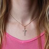 Золотой крестик Спаситель в комбинированном цвете металла