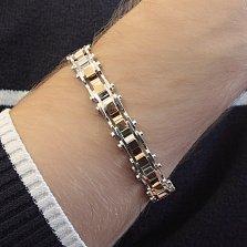 Серебряный браслет Алан с золотыми накладками, 12мм