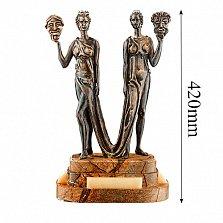 Бронзовая скульптура Талия и Мельпомена на подставке из яшмы и оникса