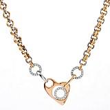 Золотое колье из комбинированного золота Влюбленное сердце