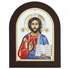 Икона на деревянной основе Спаситель с цветной эмалью и позолотой, 13х17
