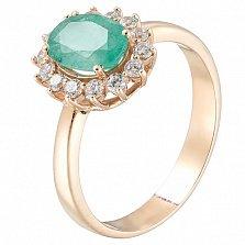 Золотое кольцо Виалин с изумрудом и фианитами