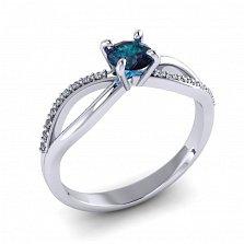 Золотое кольцо Desire в белом цвете с синтезированным александритом и бриллиантами