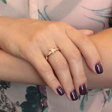 Золотое кольцо Сердце в красном цвете с белым цирконием