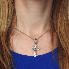 Серебряный крестик Воскресение с позолотой и чернением