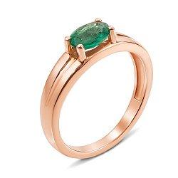 Кольцо из красного золота с изумрудом 000137227