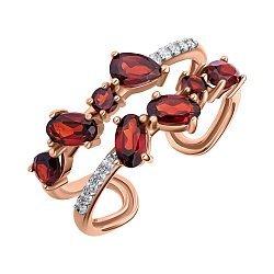 Кольцо из красного золота с гранатами и фианитами 000139264