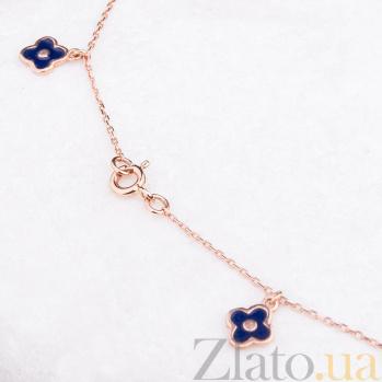 Золотой браслет на ногу с эмалью Бренд ONX--б01875