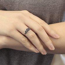 Серебряное кольцо Алина с гидротермальными сапфирами и фианитами