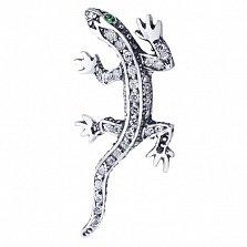 Серебряная подвеска Ящерица с зелеными и белыми фианитами