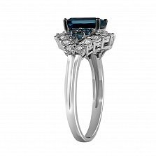 Кольцо Прунелла из белого золота с бриллиантами и топазами
