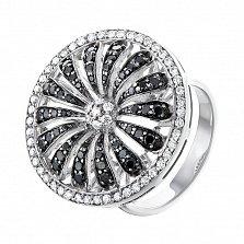 Золотое кольцо Черно-белая ромашка с бриллиантами