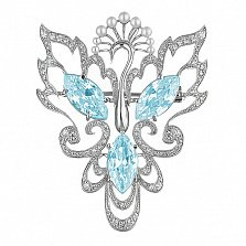 Серебряная брошь с жемчугом и голубыми фианитами Жар-птица