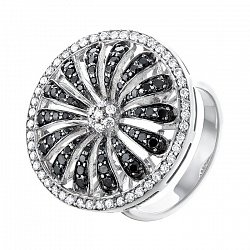 Золотое кольцо Черно-белая ромашка с бриллиантами 000064839