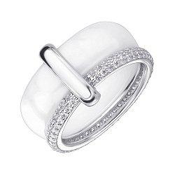 Серебряное кольцо с керамикой и цирконием 000145381