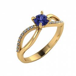 Золотое кольцо Desire с символом бесконечности, танзанитом и бриллиантами