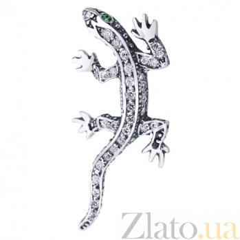 Серебряная подвеска Ящерица с фианитами AUR--74221з*