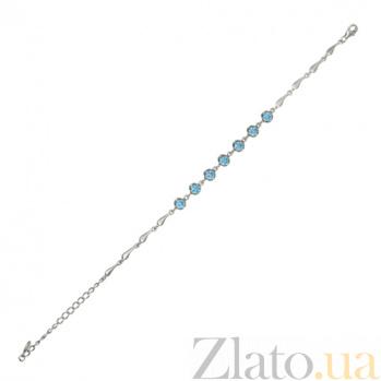 Серебряный браслет с голубыми фианитами Деланея 000027976