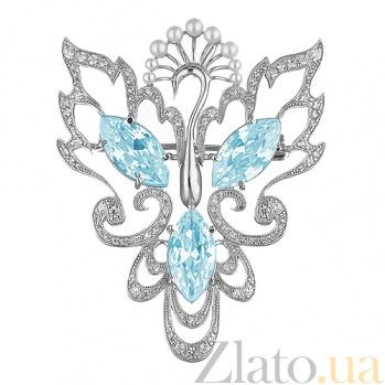 Серебряная брошь с жемчугом и голубыми фианитами Жар-птица TNG--660064С/гол