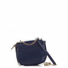 Кожаный клатч на каждый день Genuine Leather 1367 темно-синего цвета с декоративным бантом