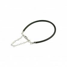Черный силиконовый браслет с серебром Ванильное небо