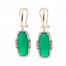 Золотые серьги-подвески Яркая хвоя с зеленым агатом и бриллиантами