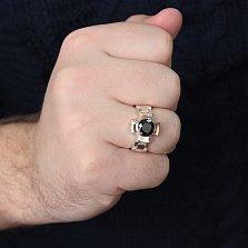 Серебряное кольцо-печатка Крест с черным фианитом и золотыми накладками