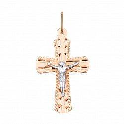 Золотой крестик в комбинированном цвете с алмазной гранью 000132292