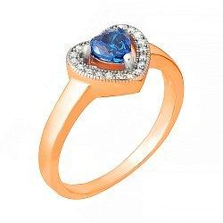 Позолоченное кольцо из серебра Love you с синим и белым цирконием