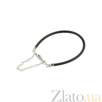 Черный силиконовый браслет с серебром Ванильное небо 3Б203-0005