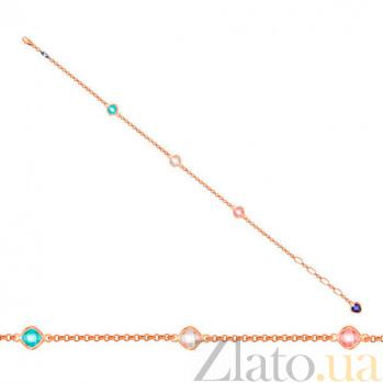 Золотойбраслет Цветные блики с разноцветными фианитами VLT--Н555