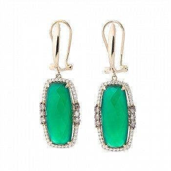 Золотые серьги-подвески Яркая хвоя с зеленым агатом и бриллиантами 000060325