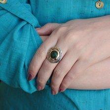 Серебряное кольцо Джоконда с малахитом и золотой накладкой