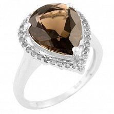 Серебряное кольцо Ольвия с раухтопазом и фианитами