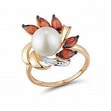 Кольцо из красного золота Ксения с жемчугом, гранатом и бриллиантами