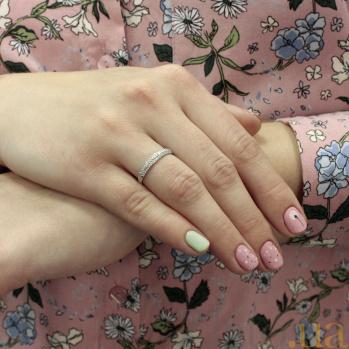 Кольцо Лея в белом золоте с бриллиантами 000042754