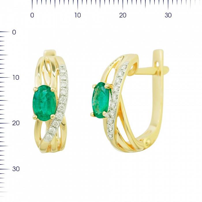 Серьги из желтого золота Мечтательница с изумрудом и бриллиантами 000081215