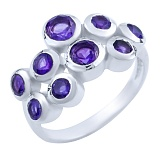 Серебряное кольцо Анджали с аметистами
