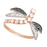 Золотое кольцо Стрекоза с цирконием