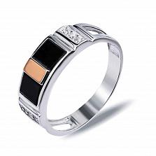 """Перстень печатка из серебра с золотом и обсидианом """"Витторио"""""""