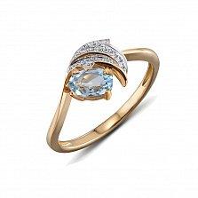 Кольцо из красного золота Мэрайя с бриллиантами и топазом