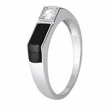 Серебряное кольцо с ониксом и фианитом Брайт