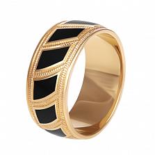 Мужское обручальное кольцо Небесные Крылья с черной эмалью