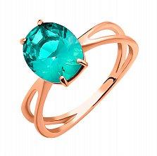 Золотое кольцо Амелия в красном цвете с кварцем