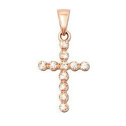 Крестик из красного золота с фианитами 000103917