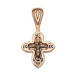 Крестик из красного золота с чернением 000135086