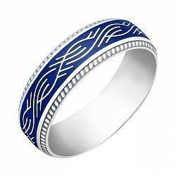Серебряное кольцо с синей эмалью 000072668
