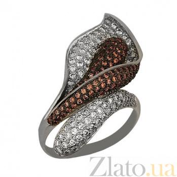 Кольцо из белого золота Камелия с фианитами VLT--ТТ1021