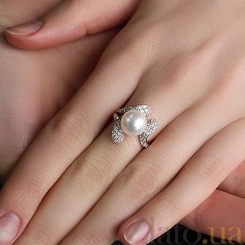 Золотое кольцо с жемчугом и фианитами Эдита 000029934